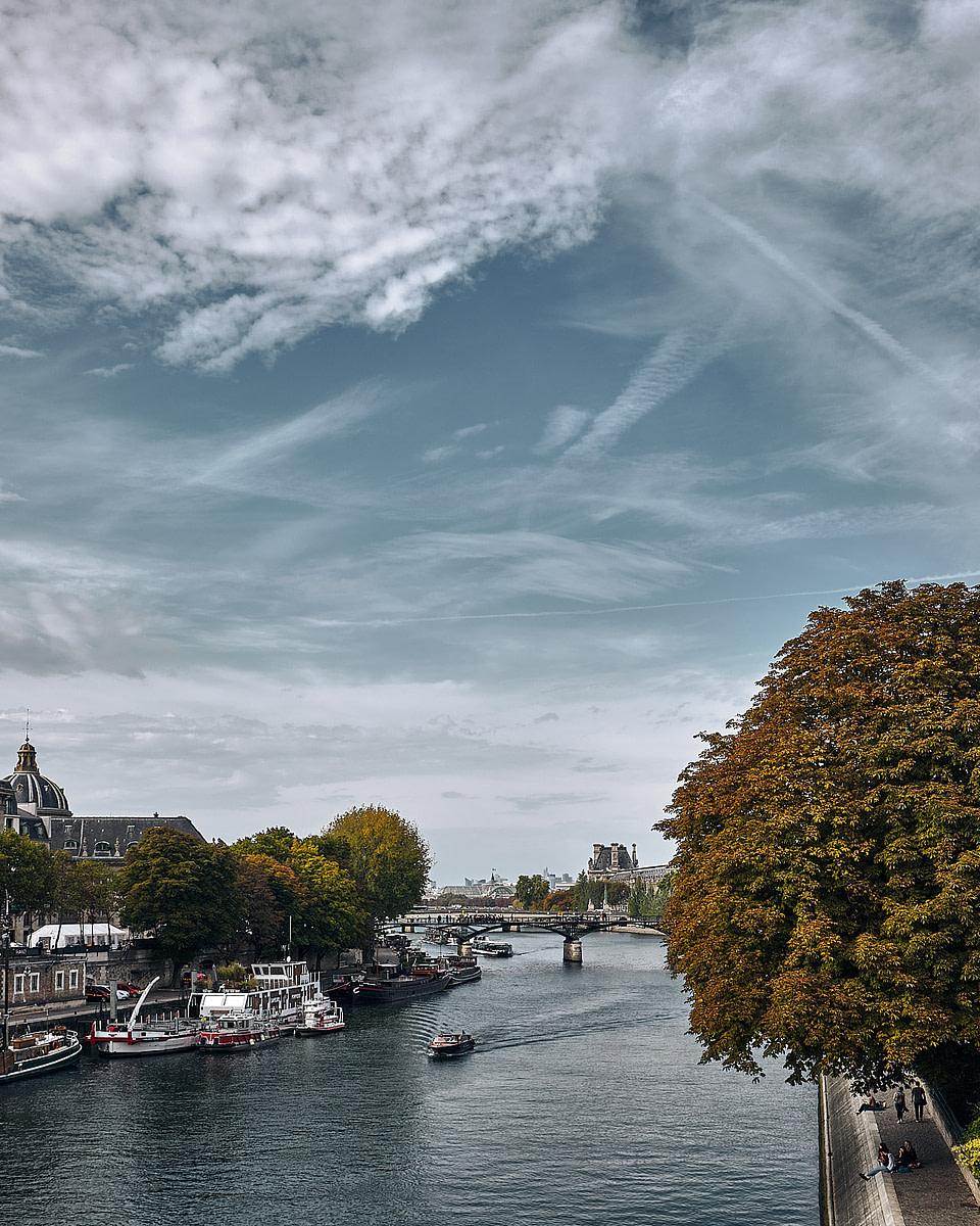 La Seine et le Pont des Arts vus depuis le Pont Neuf à Paris