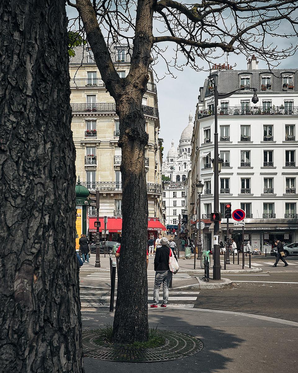 Vue sur le Sacre Coeur depuis le Boulevard de Rochechouard